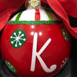 Christmas Ornament Monogram Letter K Red Green
